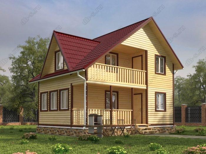 Двухэтажный проект 6 на 8 дом из профилированного бруса терраса (веранда) балкон двухскатная крыша