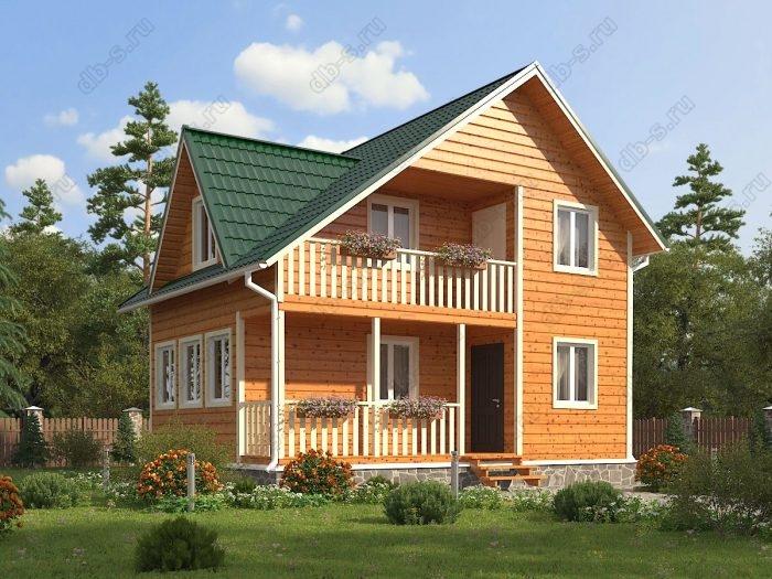 Двухэтажный проект 6 на 8 каркасный дом под ключ терраса (веранда) балкон двухскатная крыша