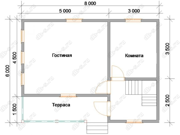 Планировка двухэтажного дома 6 на 8