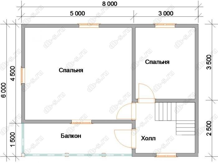Планировка второго этажа дома 6 на 8