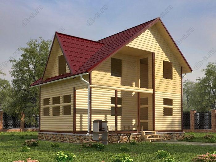 Двухэтажный проект 6 на 8 сруб под усадку терраса (веранда) балкон двухскатная крыша