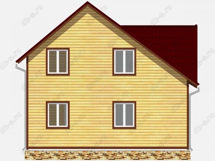 Дом из бруса 6х8 терраса (веранда) балкон двухскатная крыша