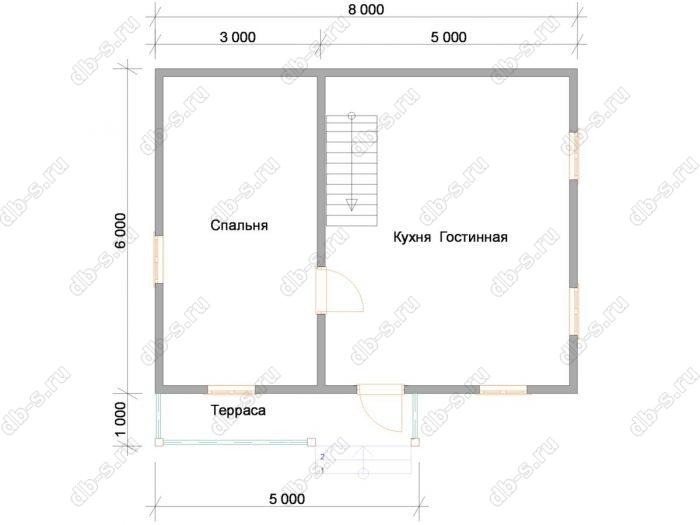 Планировка дома с мансардой 6 на 8