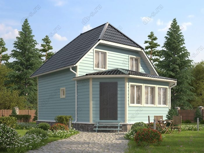 Двухэтажный проект 7 на 9 каркасный дом под ключ двухскатная крыша санузел (туалет)