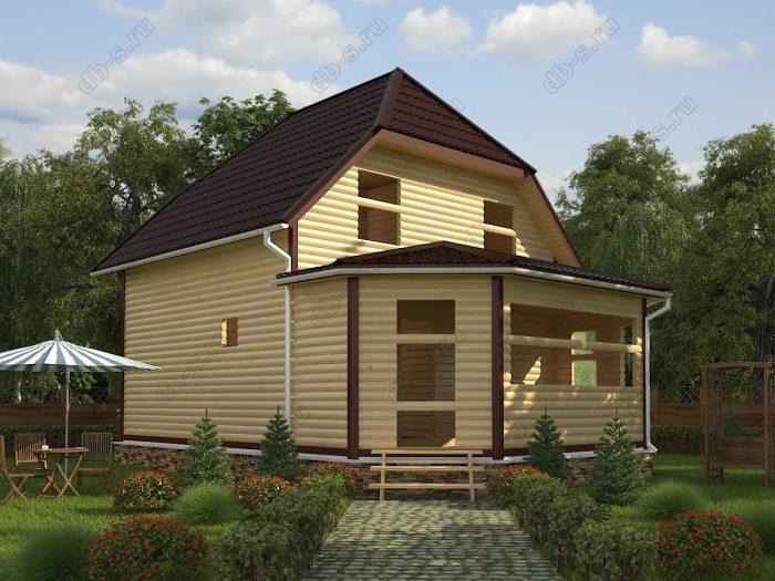 Двухэтажный проект 7 на 9 сруб под усадку двухскатная крыша санузел (туалет)