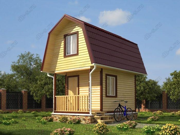 Проект с мансардой 5 на 3 дом из профилированного бруса терраса (веранда) ломаная крыша вальмовая крыша