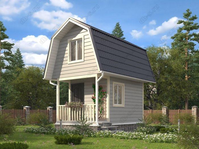 Проект с мансардой 5 на 3 каркасный дом под ключ терраса (веранда) ломаная крыша вальмовая крыша