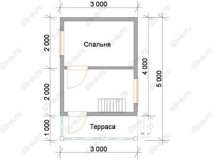 Планировка дома с мансардой 5 на 3
