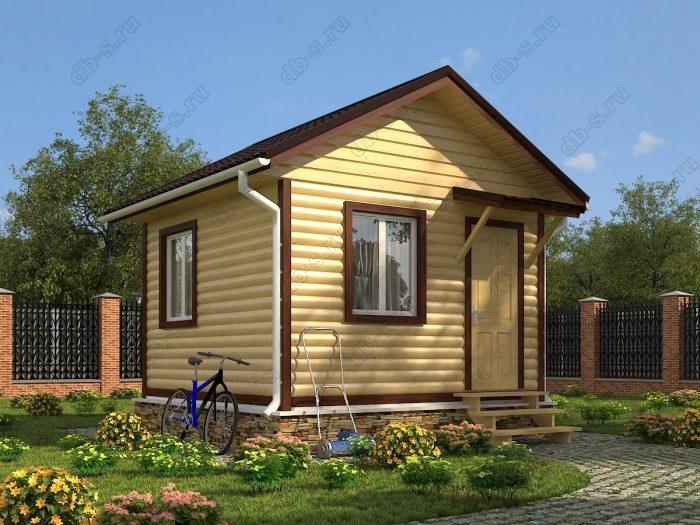 Одноэтажный проект 4 на 4 дом из профилированного бруса двухскатная крыша