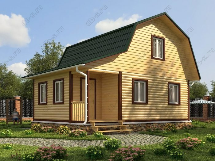 Проект с мансардой 8 на 6 дом из профилированного бруса терраса (веранда) ломаная крыша вальмовая крыша