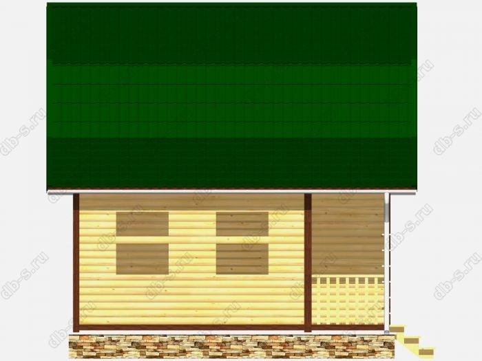Сруб дома 8х6 терраса (веранда) ломаная крыша вальмовая крыша
