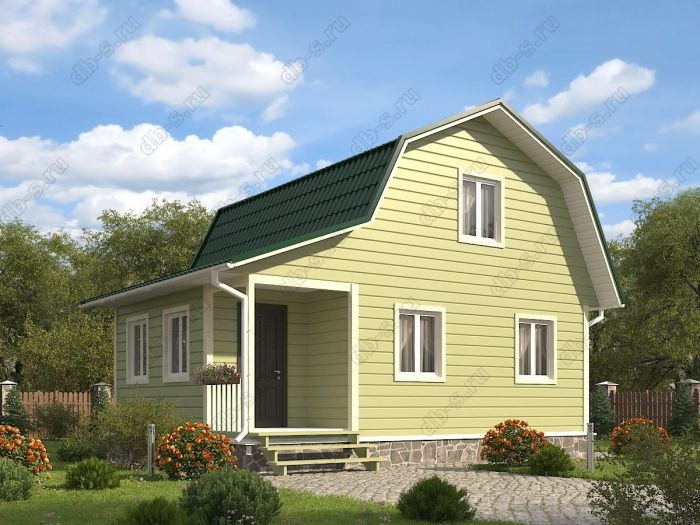 Проект с мансардой 8 на 6 каркасный дом под ключ терраса (веранда) ломаная крыша вальмовая крыша
