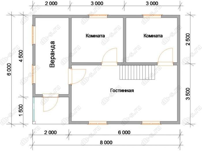 Планировка дома с мансардой 8 на 6