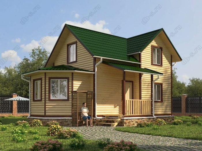 Двухэтажный проект 9 на 9.5 дом из профилированного бруса двухскатная крыша санузел (туалет)