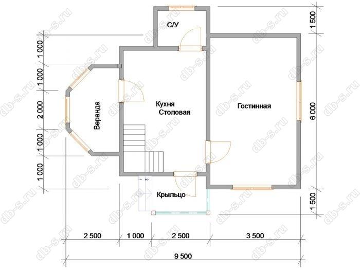 Планировка двухэтажного дома 9 на 9.5