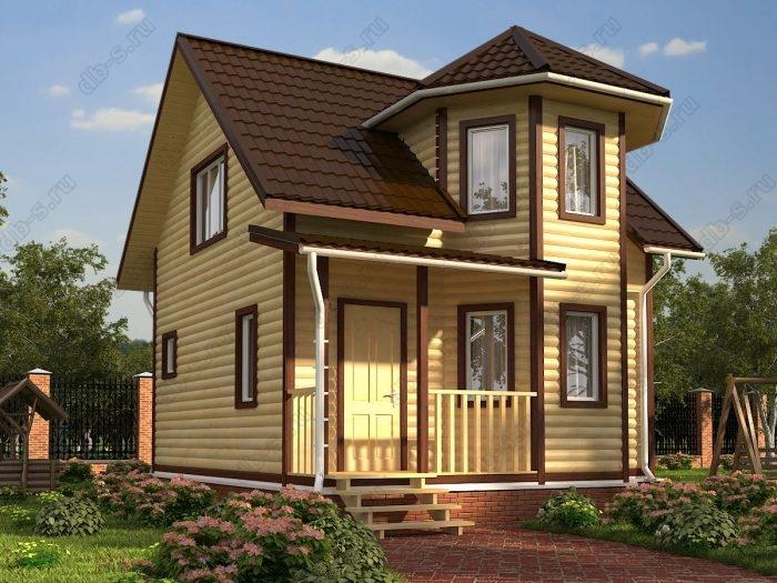 Двухэтажный проект 6 на 7 дом из профилированного бруса терраса (веранда) двухскатная крыша санузел (туалет)