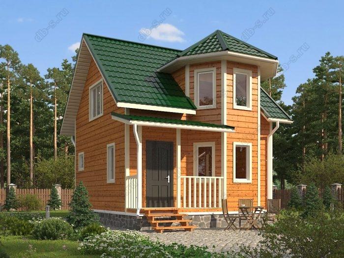 Двухэтажный проект 6 на 7 каркасный дом под ключ терраса (веранда) двухскатная крыша санузел (туалет)