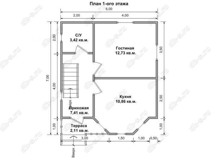 Планировка двухэтажного дома 6 на 7