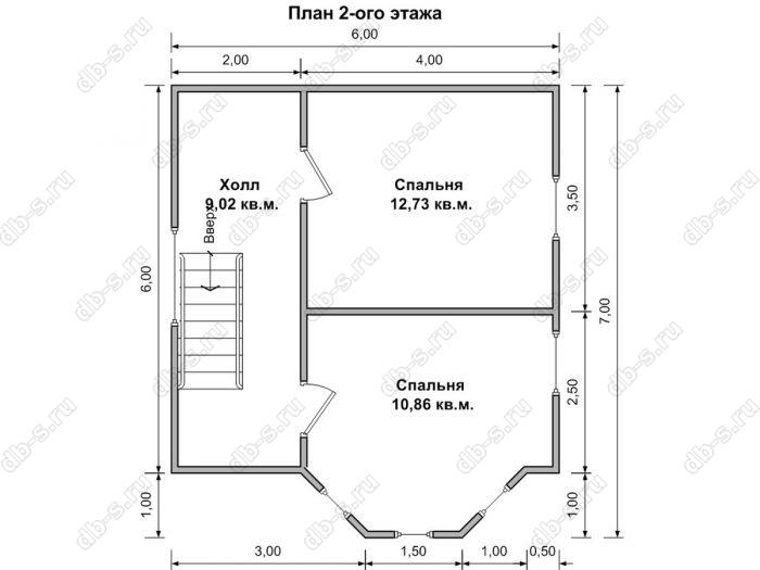 Планировка второго этажа дома 6 на 7