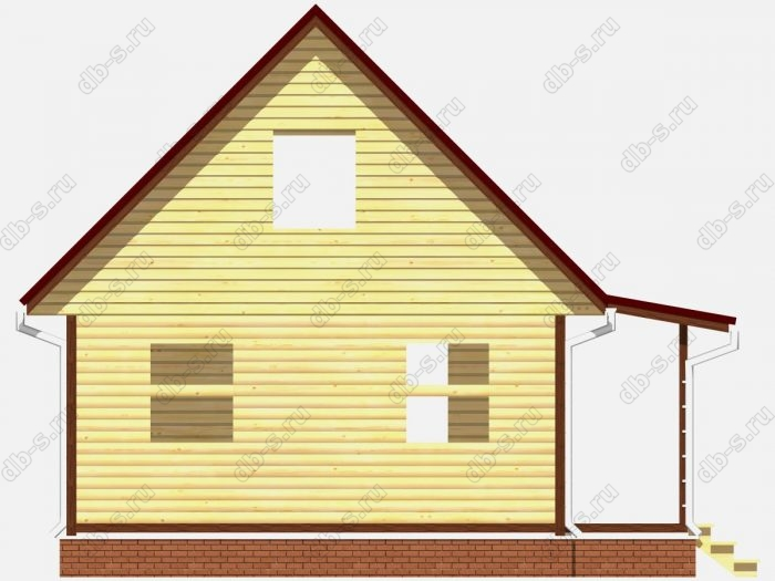 Сруб дома 6х8 двухскатная крыша