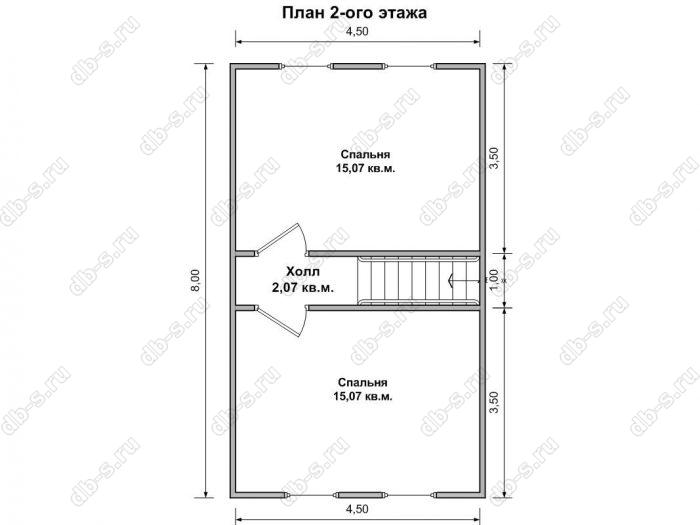 Дом 6 на 8 план мансардного этажа
