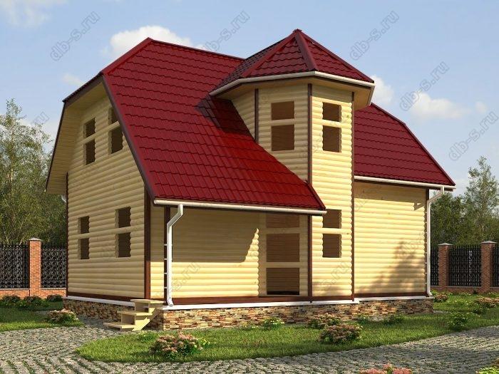 Двухэтажный проект 8 на 9 сруб под усадку терраса (веранда) двухскатная крыша санузел (туалет)