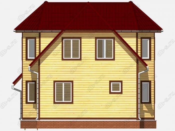 Дом из бруса 8х9 терраса (веранда) двухскатная крыша