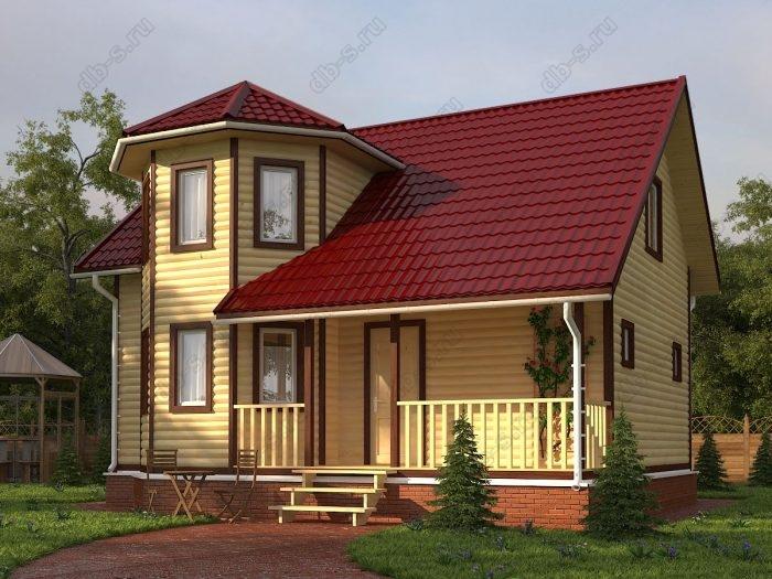Двухэтажный проект 7.5 на 9 дом из профилированного бруса терраса (веранда) двухскатная крыша санузел (туалет)