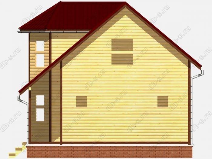 Сруб дома 7.5х9 терраса (веранда) двухскатная крыша