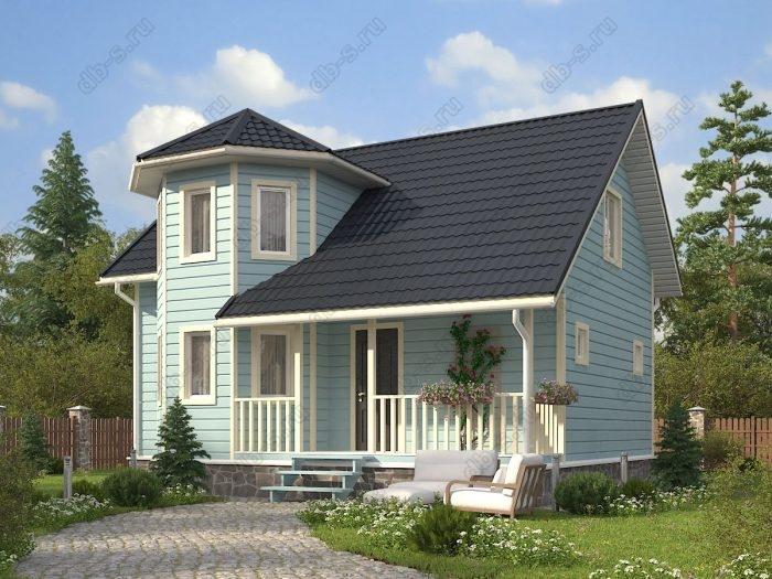 Двухэтажный проект 7.5 на 9 каркасный дом под ключ терраса (веранда) двухскатная крыша санузел (туалет)