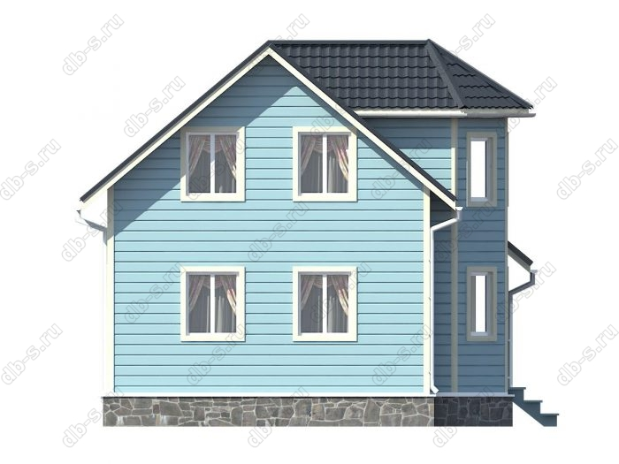 Каркасный дом 7.5х9 терраса (веранда) двухскатная крыша