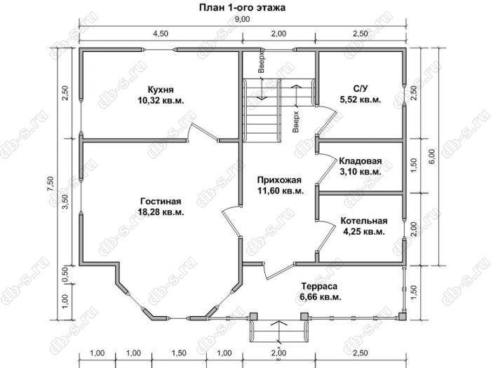 Планировка двухэтажного дома 7.5 на 9
