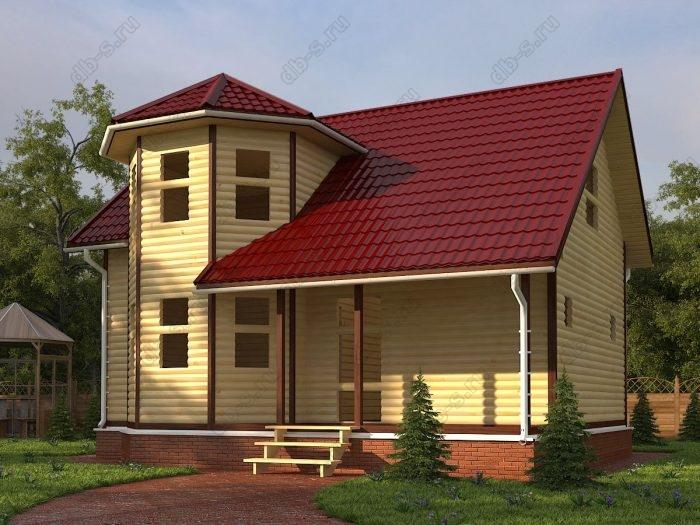 Двухэтажный проект 7.5 на 9 сруб под усадку терраса (веранда) двухскатная крыша санузел (туалет)