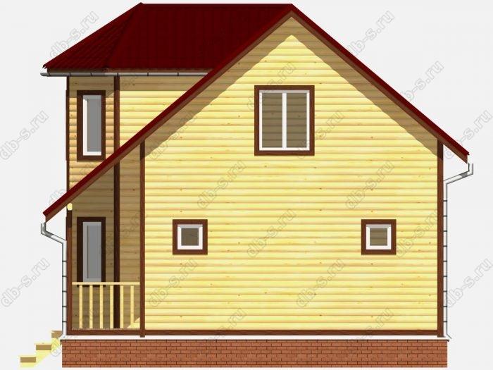 Дом из бруса 7.5х9 терраса (веранда) двухскатная крыша