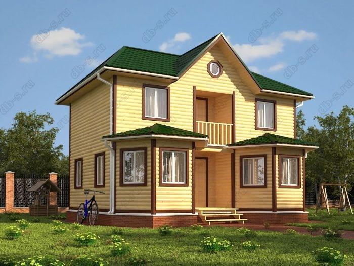 Двухэтажный проект 7 на 9 дом из профилированного бруса балкон санузел (туалет)