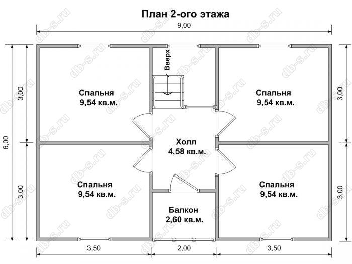 Планировка второго этажа дома 7 на 9