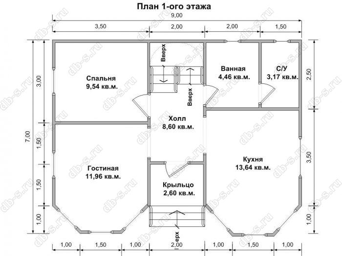 Планировка двухэтажного дома 7 на 9