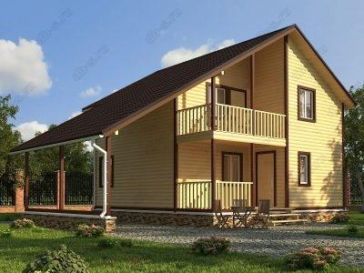 Дом из бруса 8х8 проект Д47