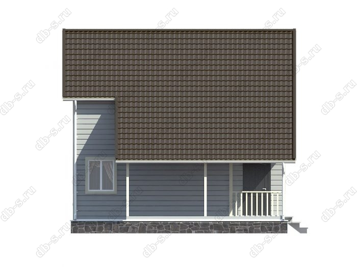 Каркасный дом 8х8 терраса (веранда) балкон двухскатная крыша