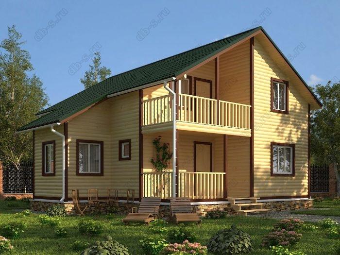Двухэтажный проект 8 на 10 дом из профилированного бруса терраса (веранда) балкон двухскатная крыша санузел (туалет)