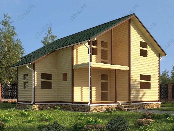 Двухэтажный проект 8 на 10 сруб под усадку терраса (веранда) балкон двухскатная крыша санузел (туалет)