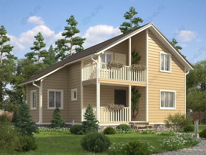 Двухэтажный проект 8 на 10 каркасный дом под ключ терраса (веранда) балкон двухскатная крыша санузел (туалет)