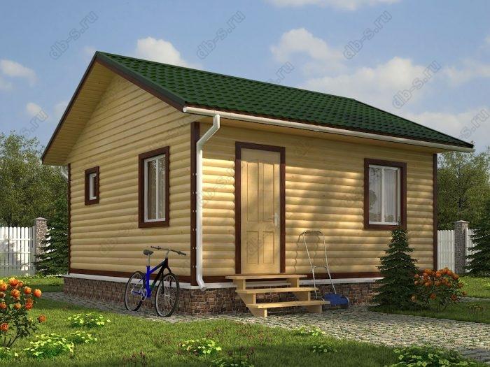 Одноэтажный проект 6 на 6 дом из профилированного бруса двухскатная крыша санузел (туалет)