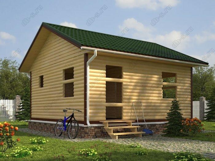 Одноэтажный проект 6 на 6 сруб под усадку двухскатная крыша санузел (туалет)