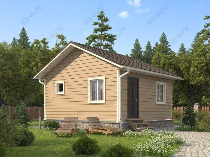 Одноэтажный проект 6 на 6 каркасный дом под ключ двухскатная крыша санузел (туалет)