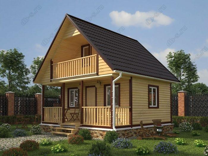 Проект с мансардой 6 на 6 дом из профилированного бруса терраса (веранда) балкон двухскатная крыша