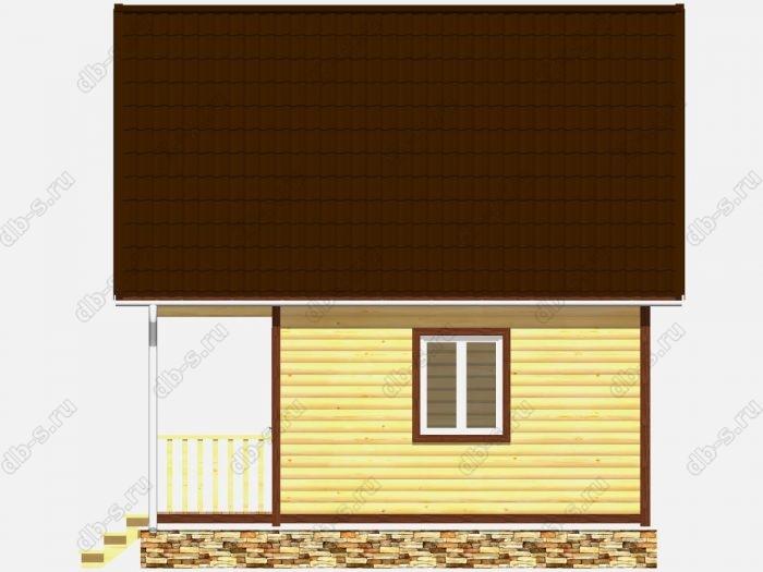 Дом из бруса 6х6 терраса (веранда) балкон двухскатная крыша