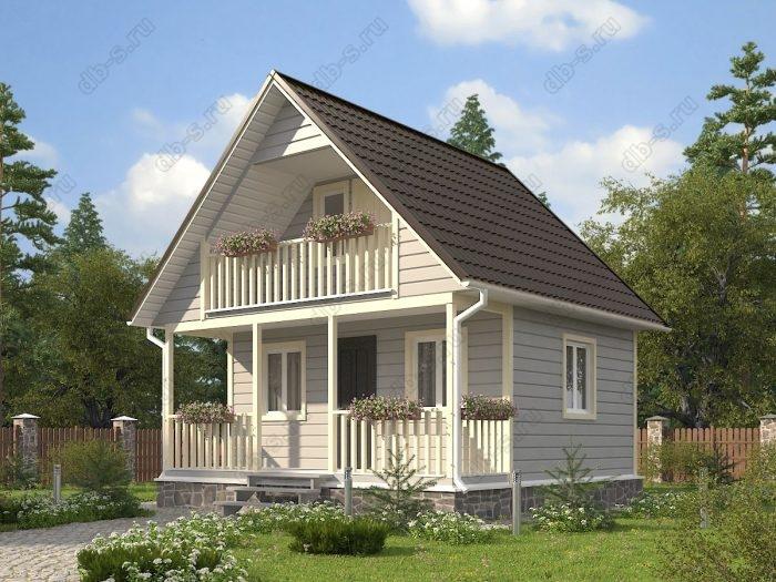 Проект с мансардой 6 на 6 каркасный дом под ключ терраса (веранда) балкон двухскатная крыша