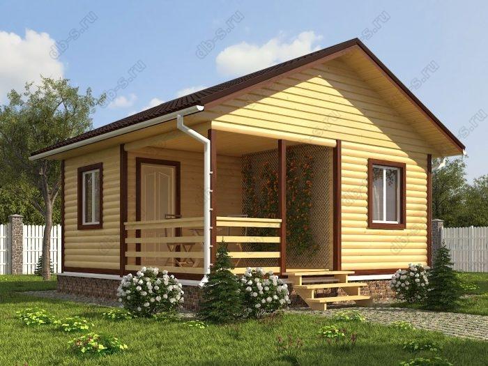 Одноэтажный проект 6 на 6 дом из профилированного бруса терраса (веранда) двухскатная крыша санузел (туалет)