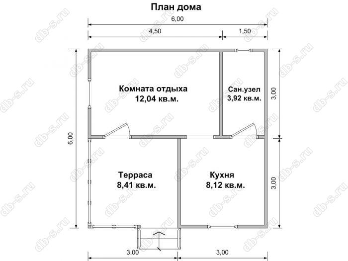 Планировка одноэтажного дома 6 на 6